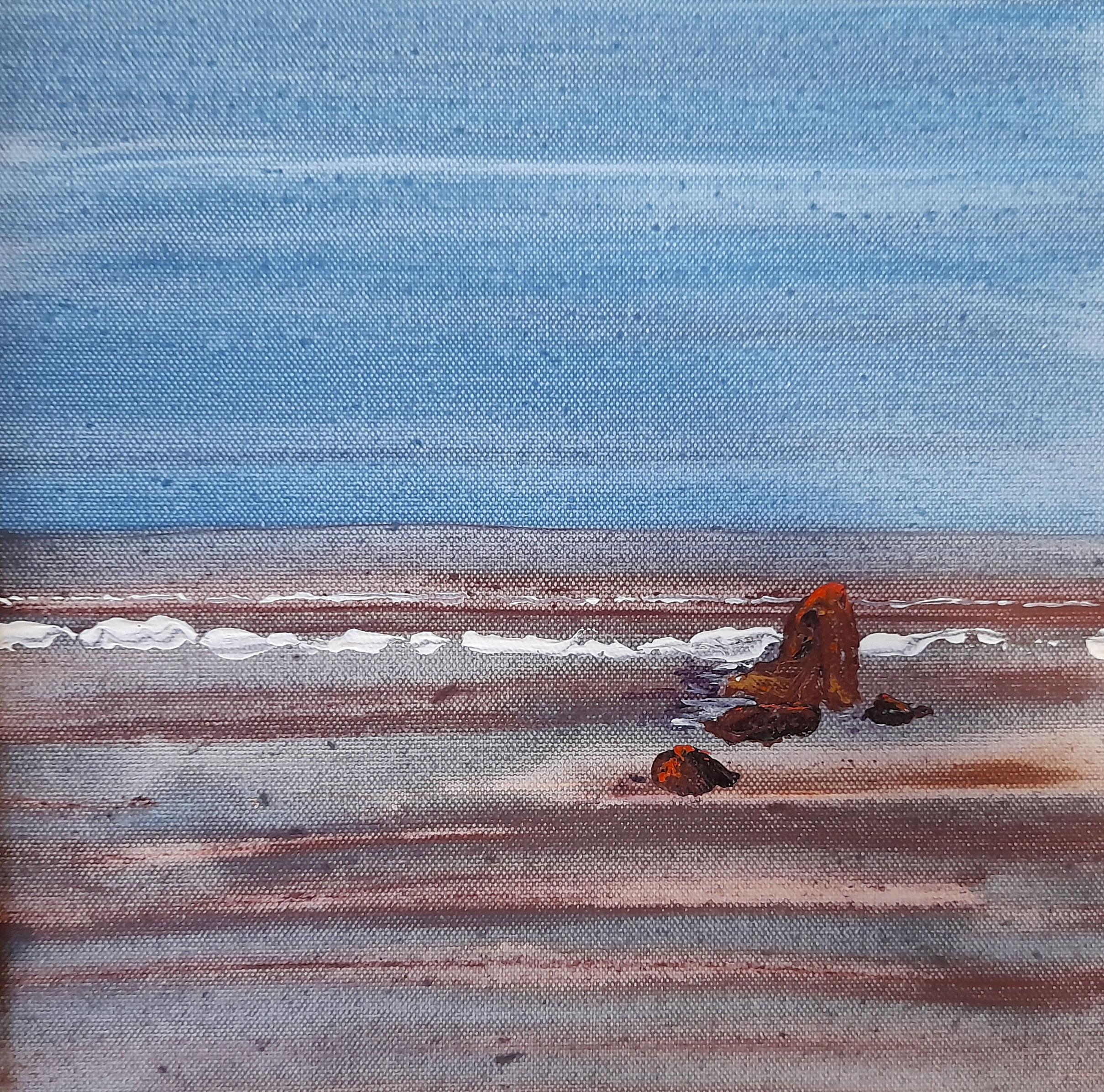 Limestone Coast Seascape -Acrylic on canvas -2021- Debbie Prescott-30cmx30cm