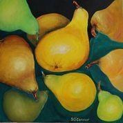 Sally O'Connor-Harvest Pears-oil on canvas-46x46cm-2021