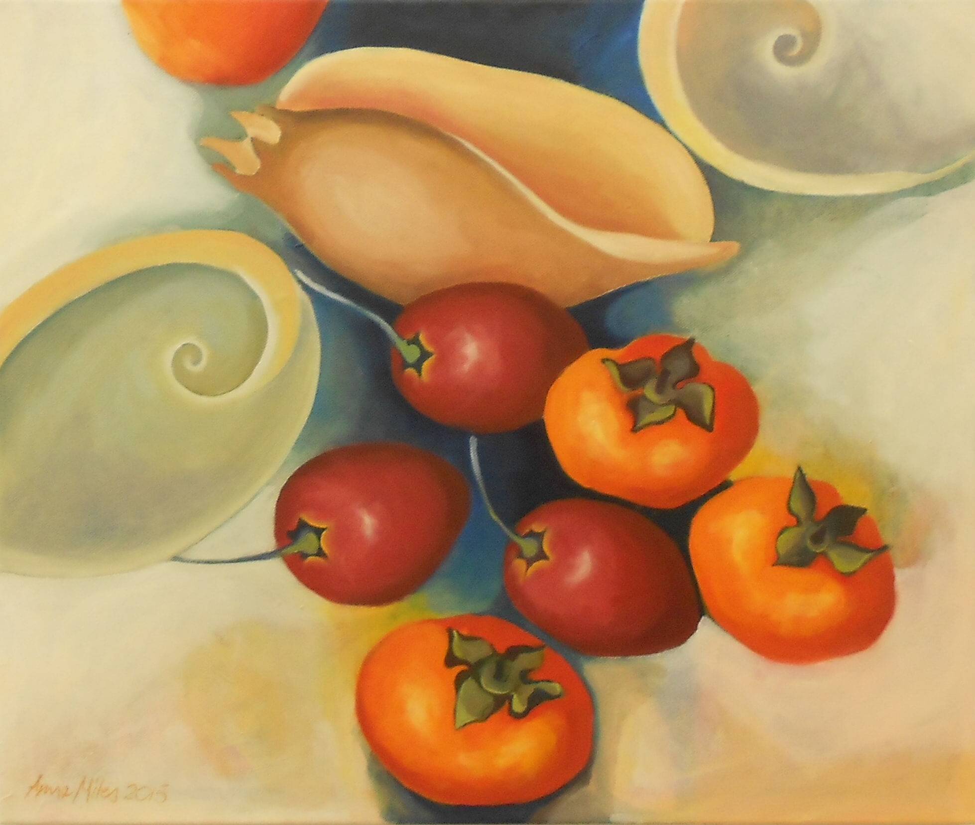 Persimmons and Tamarillos - Oil on canvas - Anne Miles 2015