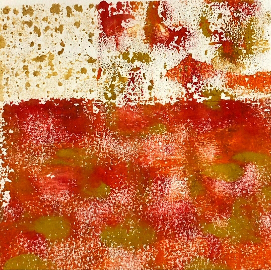 SueShaw-RedSummer-monoprint-14.5x14.5cm-framed