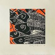 Sally O'Connor-Black and White Fish-linocut on paper-23x24cm-2020