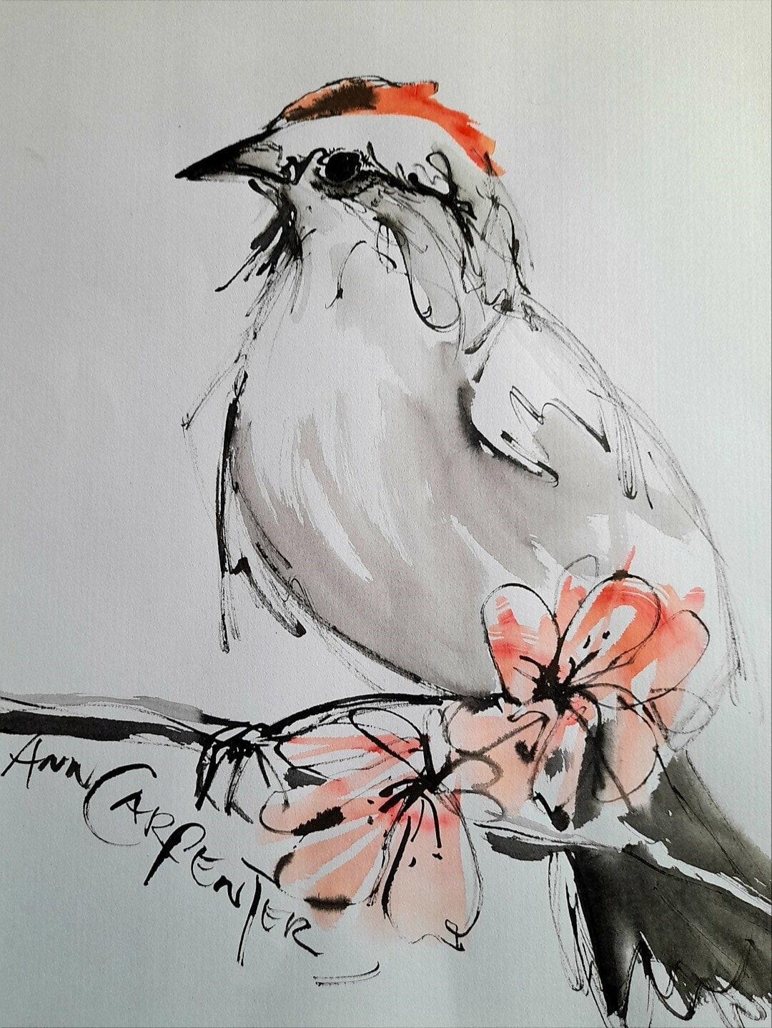 AnnCarpenter-SALA-AGardenGlimpse-Ink+watercolour-53x73cm-framed