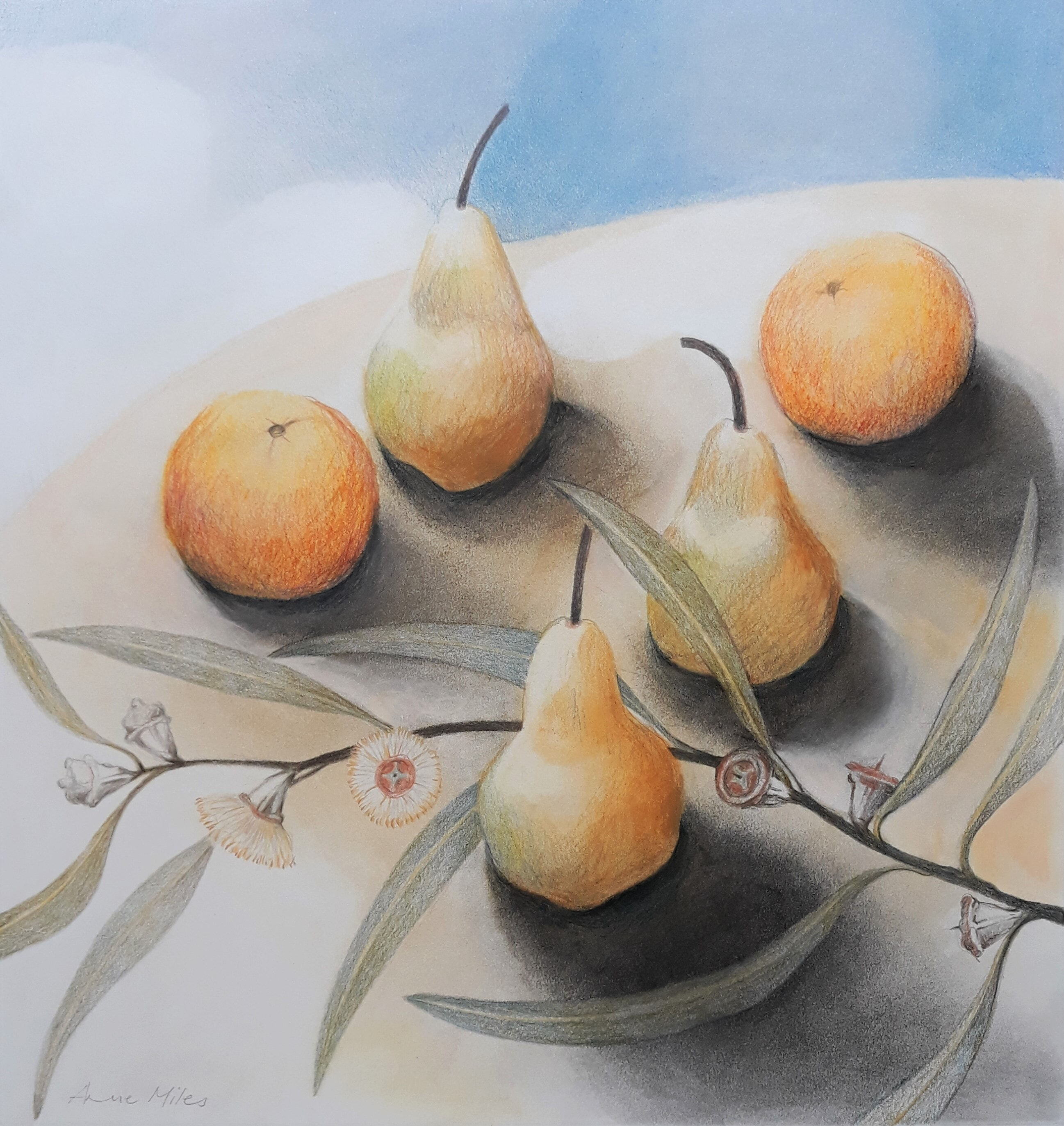 STILL LIFE WITH FRUIT AND BLUE GUM - 45 X 47cms - Mixed media  - 2020