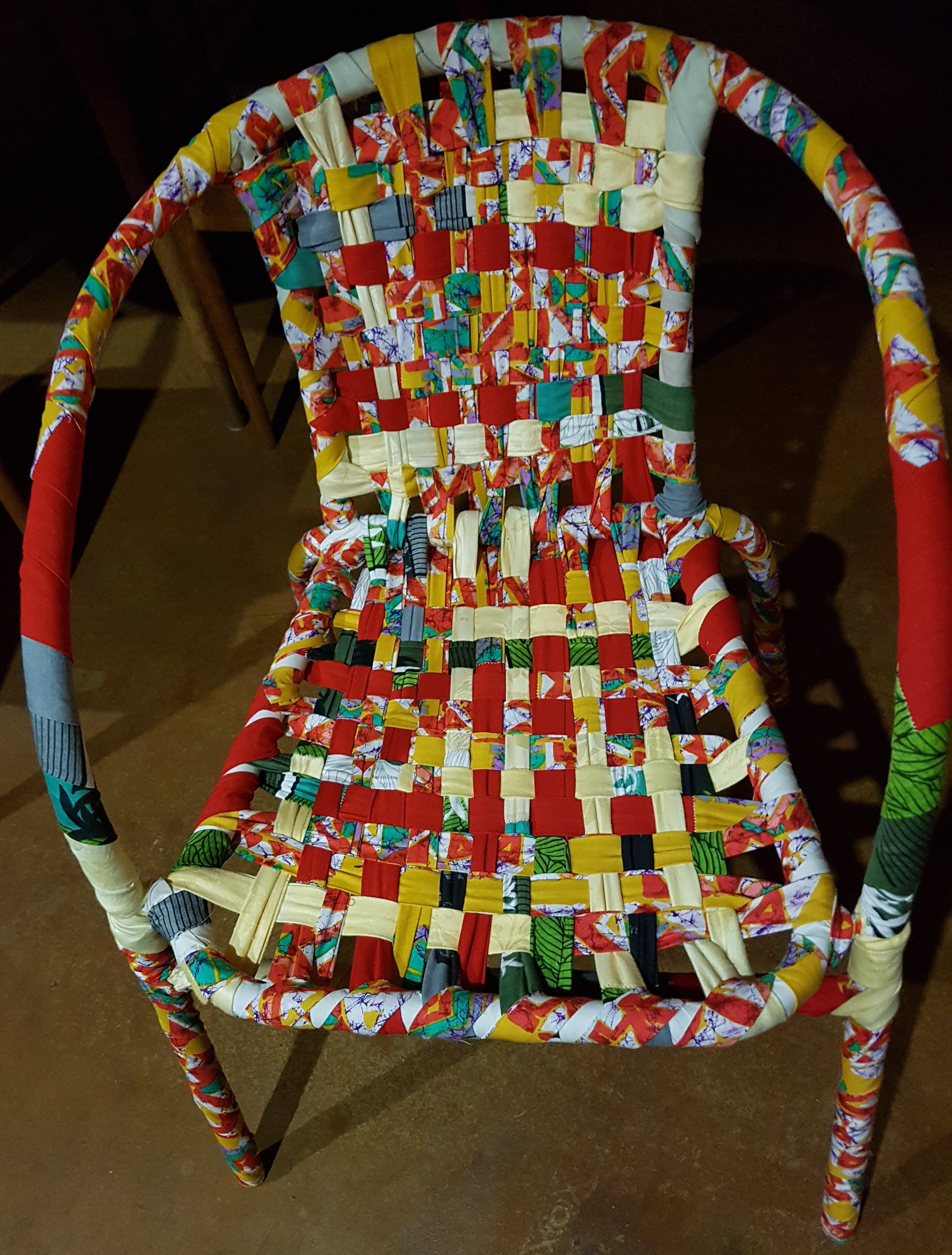Cheerful Chair 1, Jean McArthur, steel frame, recycled fabric, 2018[5311]