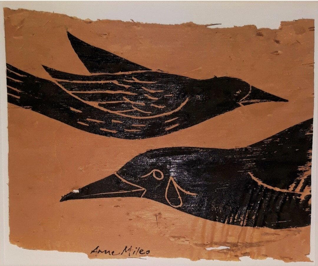 AnneMilesSala-ForestBirds-LinocutOnPaperbark-11x13.5cm