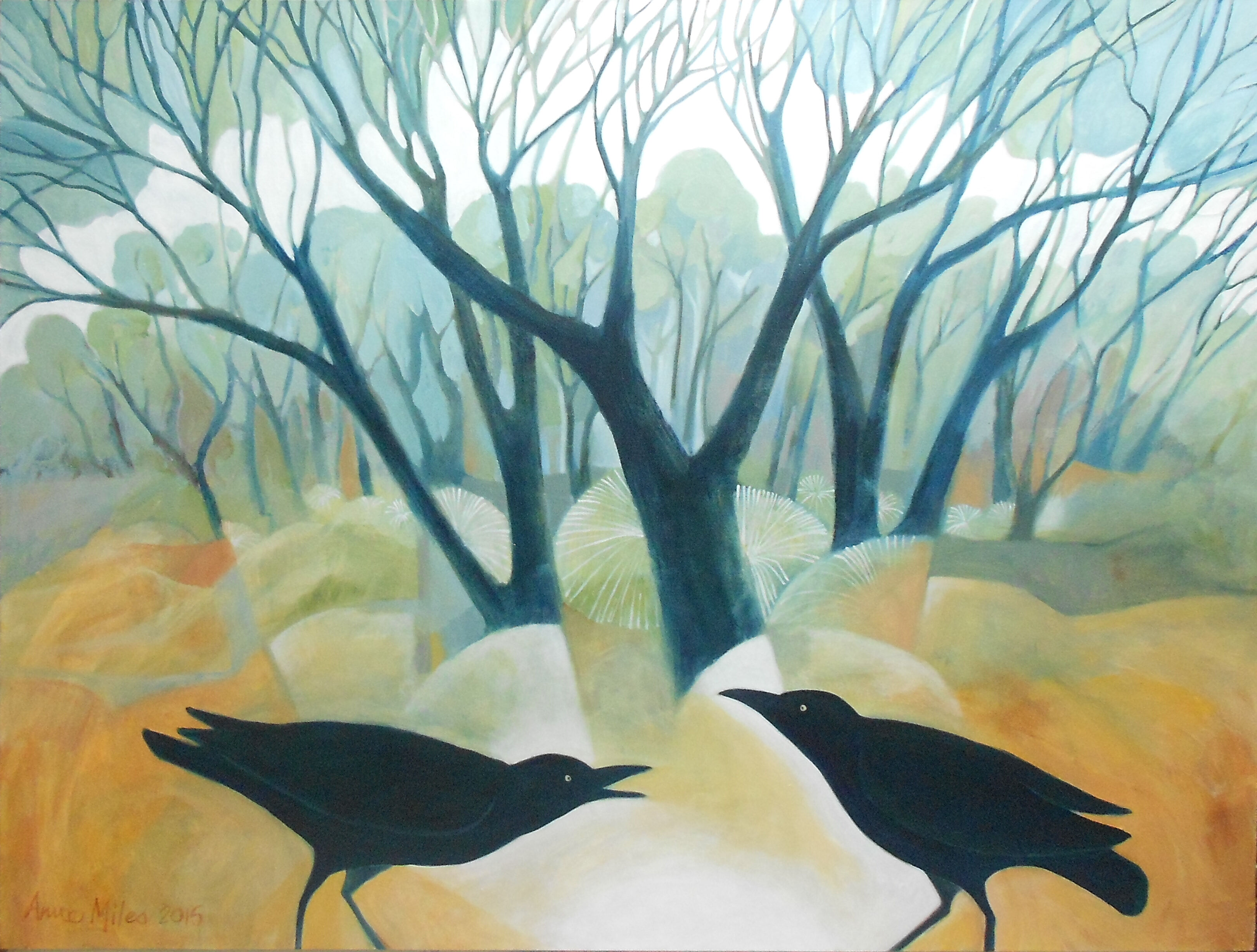 FOREST RAVENS - Oil on canvas - 100 x 75cms - Anne Miles 2015